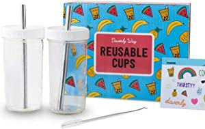 Reusable Boba Bubble Smoothie Cups with 2 Lids and metal Reusable Straw (2-pack, 24oz each)