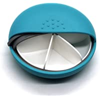 PuTwo Pill Box Round Case Portable Mediplanner AM PM Organizers, Cyan, 3.52 Ounce
