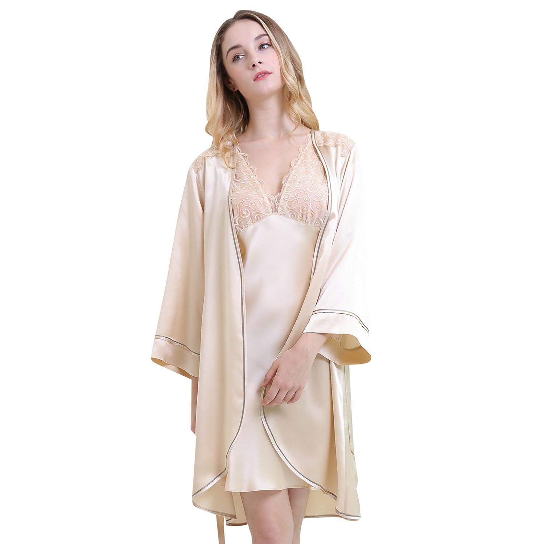 2c682889b8 Chesslyre Women s Mulberry Silk Robes Chemise Petite 2 Piece Nighty Set at  Amazon Women s Clothing store