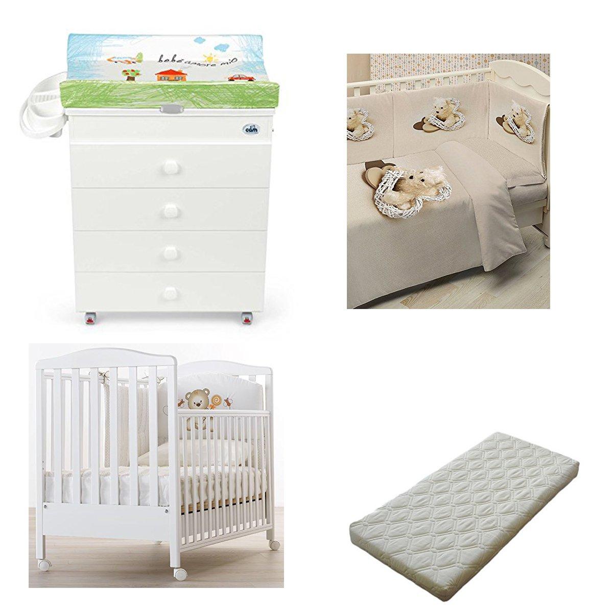Kinderbett Web Azzurra Design + Wickelauflage Asien Cam + Steppbett mit Fotodruck + Matratze Bezug CAGNOLINO