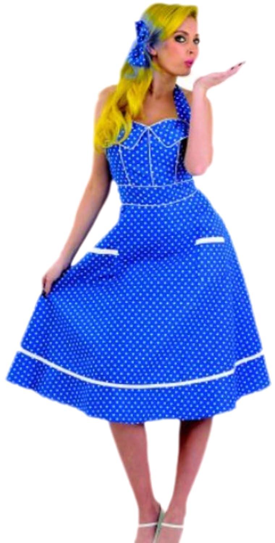 Zauberclown Damen 50er Blau Jahre Petticoat Kostüm mit Haarklammer, M, Blau 50er c1b11c