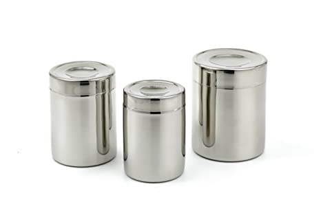 bc1c2f9ed4a9 Amazon.com: StainlessLUX 77406 Brillant Stainless Steel Canister Set ...