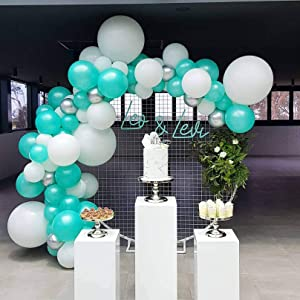Mint Blue White Balloons arch Garland Kit 94 Green Silver Balloons with Balloon Strip Tape Balloon Dot for Blue Backdrop Birthday Decoration , Baby Shower, Wedding, Graduation