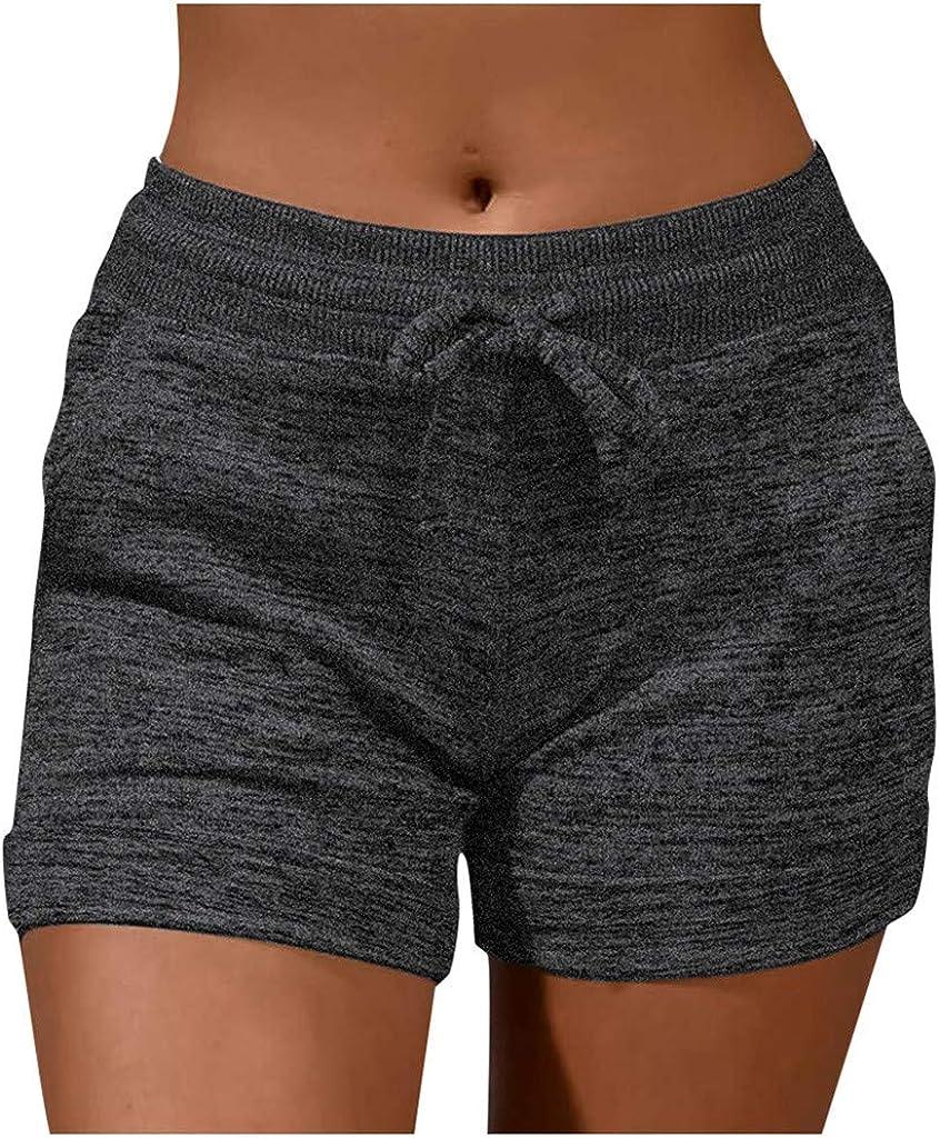 MURTIAL Running Shorts for Women Summer Loose Beach Shorts Elastic Waist Sports Shorts Drawstring Pocket,S-XXL