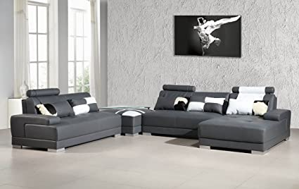 Amazon.com: Divani Casa Phantom - Modern Grey Bonded Leather ...