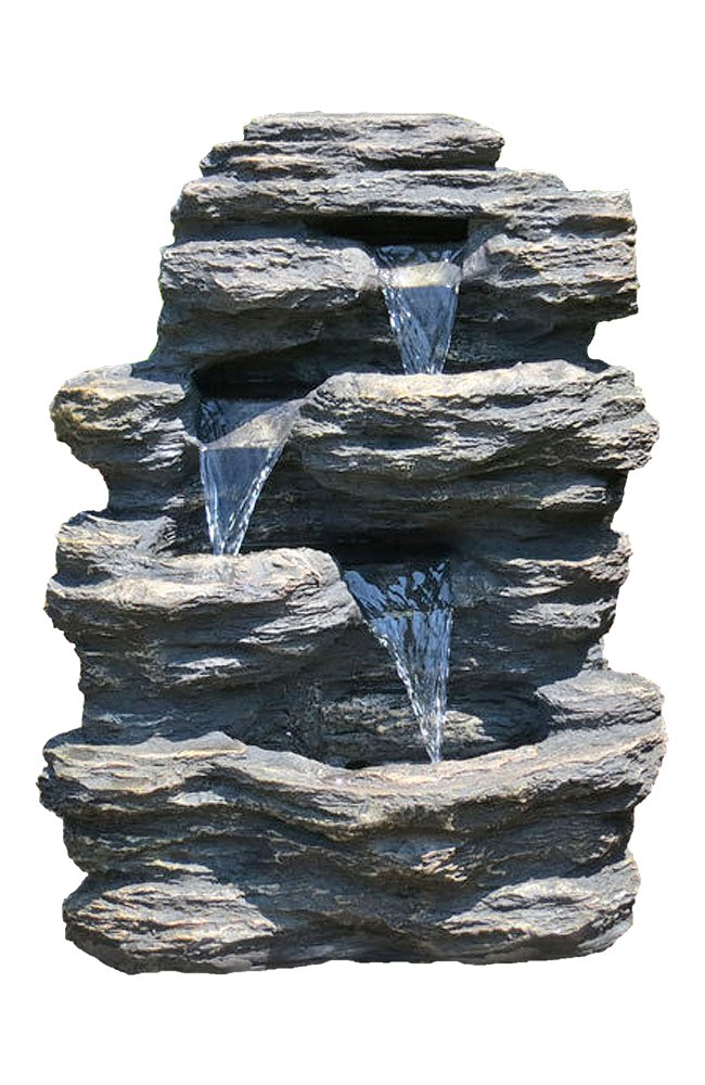 24'' Rock Waterfall Garden Fountain w/ LED Lights: Perfect Garden Water Feature, Patio Fountain, Outdoor Fountain. Features Elegant Waterfall Flow