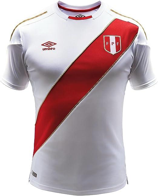 Camiseta de la Umbro Peru 2018 – 2019, hombre, blanco y rojo, Large: Amazon.es: Deportes y aire libre