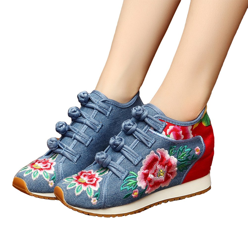 AvaCostume Womens Peony Embroidery Wedge Casual Travel Walking Shoes C Blue 36