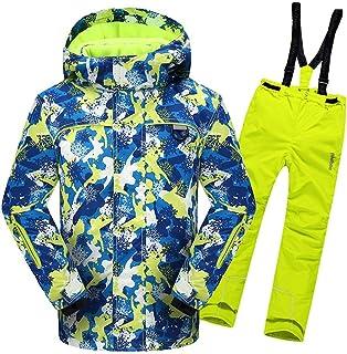 Zhangcaiyun Giacca da Sci per Bambini Giacca da Sci con Cappuccio da Sci con Tuta da Snowsuit, Impermeabile e Impermeabile, con 2 Pantaloni Ragazzi (Colore : Giallo, Dimensione : 116/122)