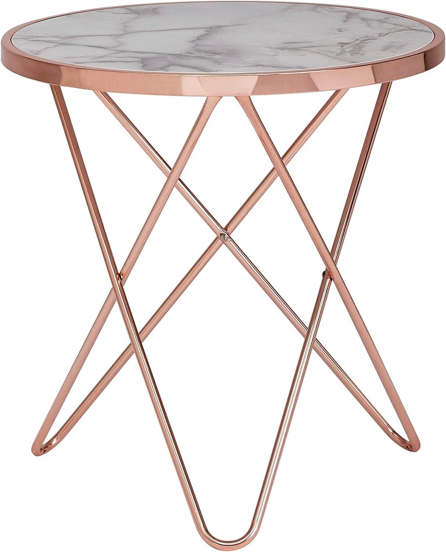 Groothandel Wohnling Design Bijzettafel, marmerlook, wit, rond, Ø55 cm, metalen frame, kleine woonkamertafel, salontafel modern 55 x 57 x 55 cm goud koper SnW1sk1