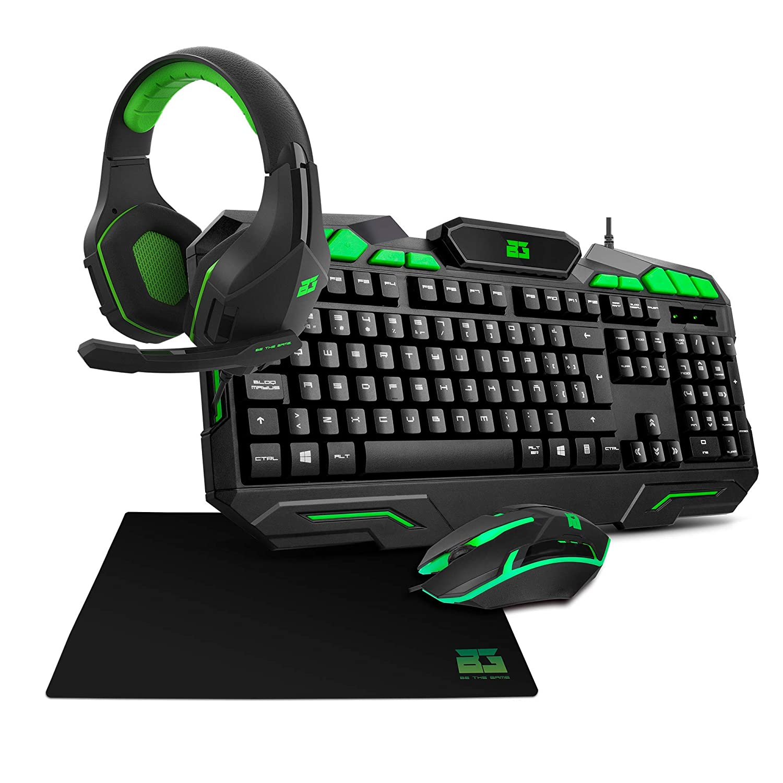 Pack Gaming BG Ranger Force/Vicker / Runway (Ratón, Teclado, Auriculares, Alfombrilla) Combo para Gamers BG BE THE GAME
