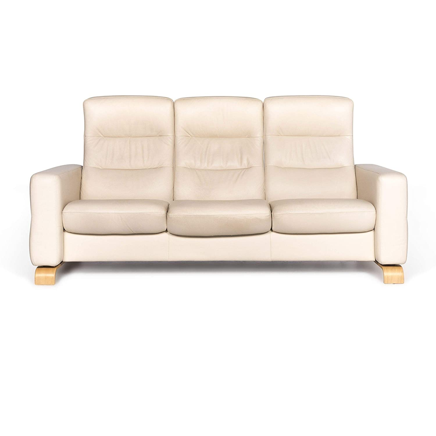 Stressless Wave Designer Leather Sofa Beige Three-Seater ...