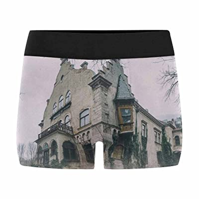 InterestPrint Boxer Briefs Men's Underwear Old Abandoned Mansion in Mystic Spooky Forest (XS-3XL)