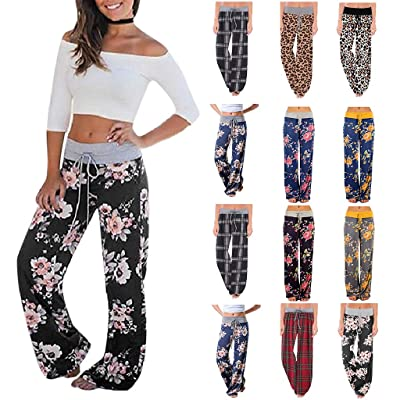 Womens Thin Comfy Wide Leg Palazzo Pants Cat Print High Waist Loose Lounge Yoga Workout Pants: Clothing [5Bkhe0705187]
