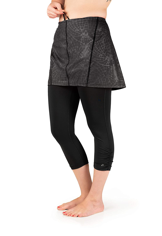 Skirt Sports レディース 反射安全カプリスカート Large Black Reflective Flyaway Print/Black B07DR73MS9