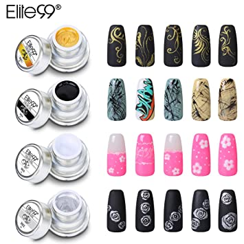 Amazon.com: Elite99 3D Painting Gel Nail Polish 4 Colors UV LED Soak ...