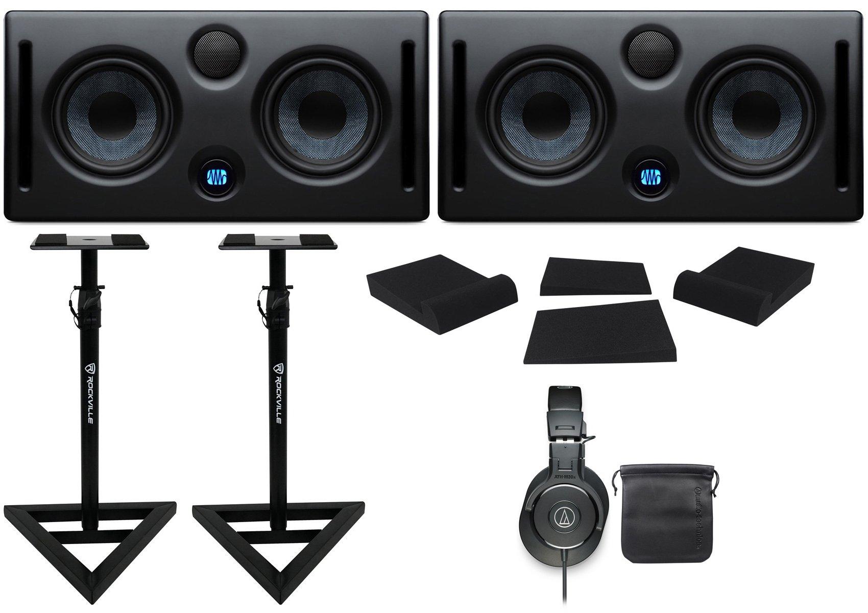 2 Presonus ERIS E66 145w Active Dual 6.5'' Studio Monitors+Headphones+Stands+Pads
