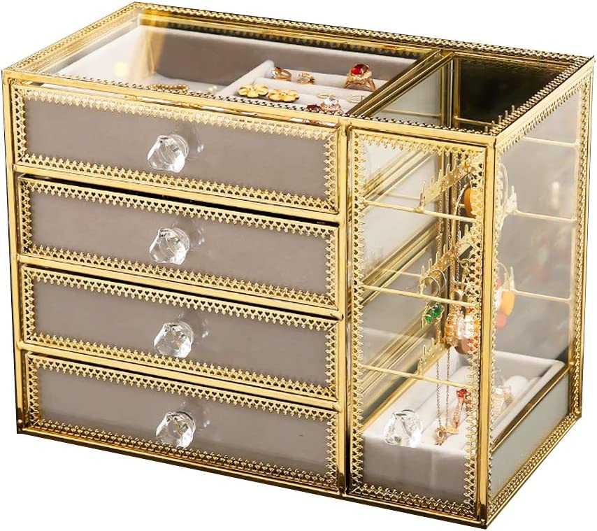 MOOCHI Golden Brass Vintage Glass 4 Drawers Jewelry Box with Earrings Hanging Stand Costmetic Organizer Case for Necklace Ring Bracelet Watch