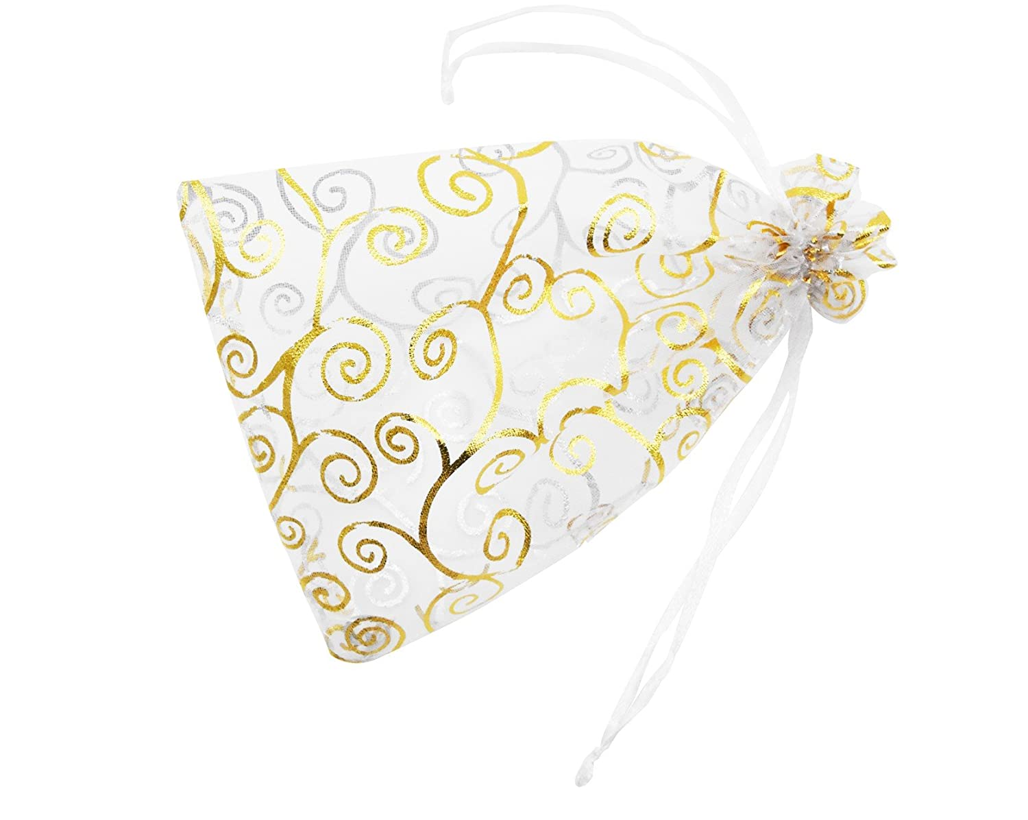 Organza Drawstring Pouches 4x6 Inches 100Pcs for Jewelry Gift Candy Party Wedding Favor Bags(White With Gold Details) Youkwer