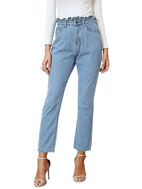 Amazon.com: BerryGo - Pantalones vaqueros de cintura alta ...