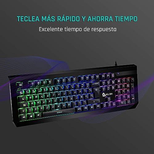 KLIM Domination Teclado Mecánico RGB ESPAÑOL Interruptores Azules Tecleo Rápido y Cómodo Teclado Gaming Retroiluminado Completa Personalización de Colores PC PS4 Xbox One Nueva Versión