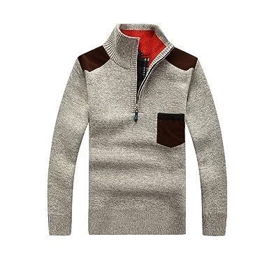 GWELL Herren Pullover mit Fleece Jacquard Verdickte Sweater Cardigan  Strickpullover mit Stehkragen Beige XS