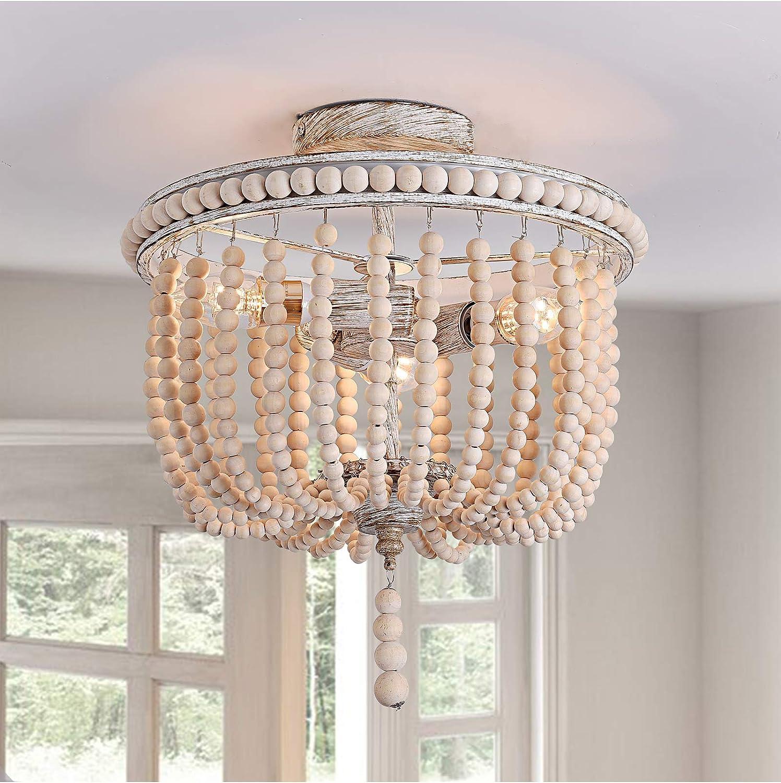 Flush Mount Ceiling Light,12.6-inch Boho Light Fixtures,3-Light Wood Beaded Chandelier,Semi-Flush Mount Light for Bedroom,Hallway,Entryway,Lounge and Foyer