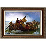 """Eliteart- Washington Crossing the Delaware By Emanuel Gottlieb Leutze Oil Painting Reproduction Giclee Wall Art Canvas Prints-Framed Size:26""""x36"""""""