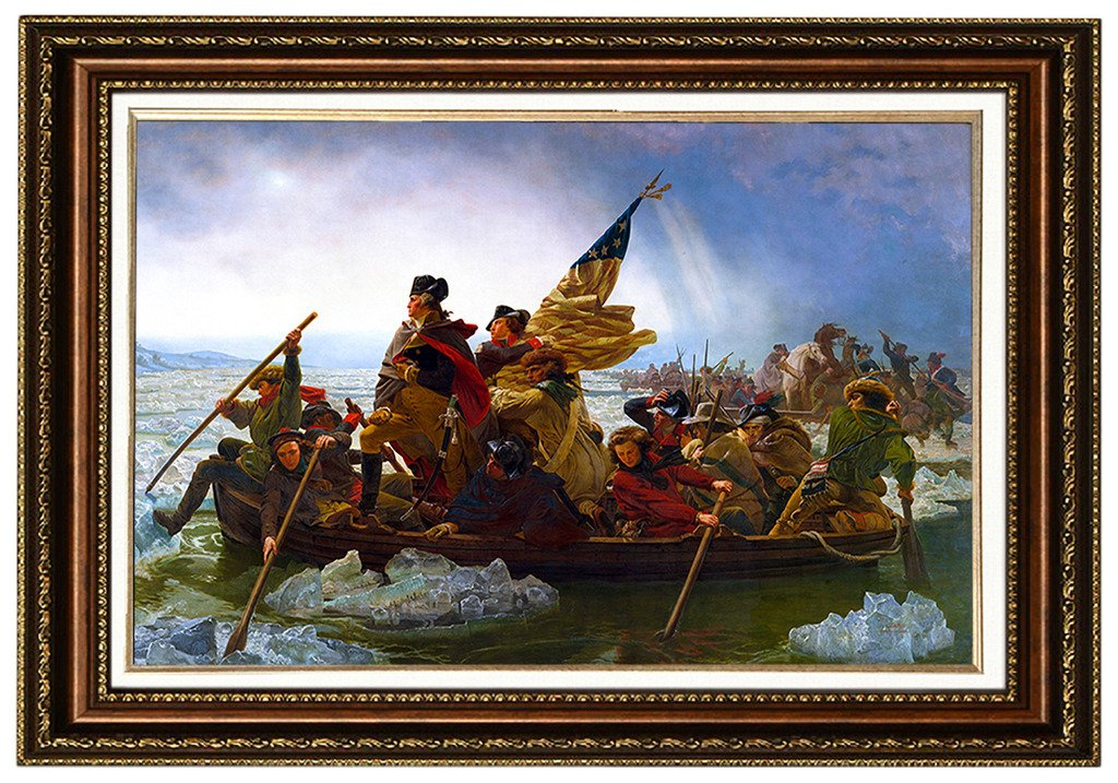 Eliteart- Washington Crossing the Delaware By Emanuel Gottlieb Leutze Oil Painting Reproduction Giclee Wall Art Canvas Prints-Framed Size:26''x36'' by eliteart