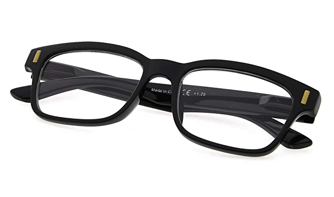 aca37a0d3a2 Womens Stylish Spring Hinge Reading Glasses Clear Lens Eyewear for Reading  Black Frame +0.5