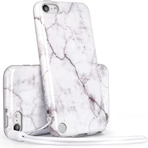 Uarmor iPod Touch case,Slim FIT Anti-Scratch Flexible Soft TPU Bumper Protective Case for iPod Touch 7,iPod Touch 6,iPod Touch 5,iPod Touch Case for Girls, White Marble