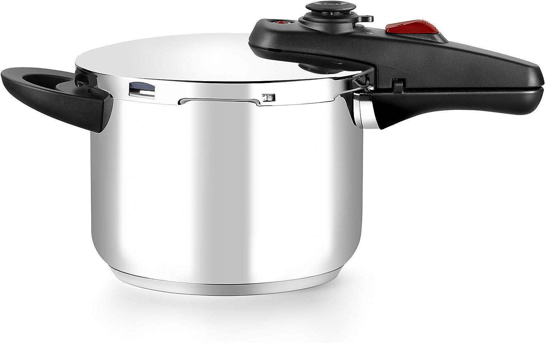 BRA Allure Olla a presión rápida 6 litros, acero inoxidable, apta para todo tipo de cocinas, incluido inducción: Amazon.es: Hogar