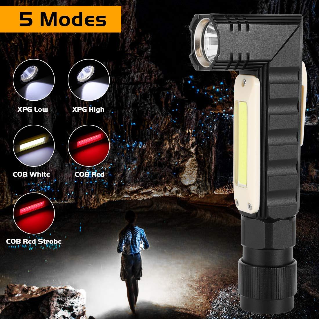 Torche Lampe LED Rechargeable USB avec Aimant 360/° Rotative Ultra Puissante Lampe de 90/° Rotative Lampe de Travail COB Baladeuse LED /Étanche IP44 Lampe de Camping 5 Modes DEclairage Ajustable