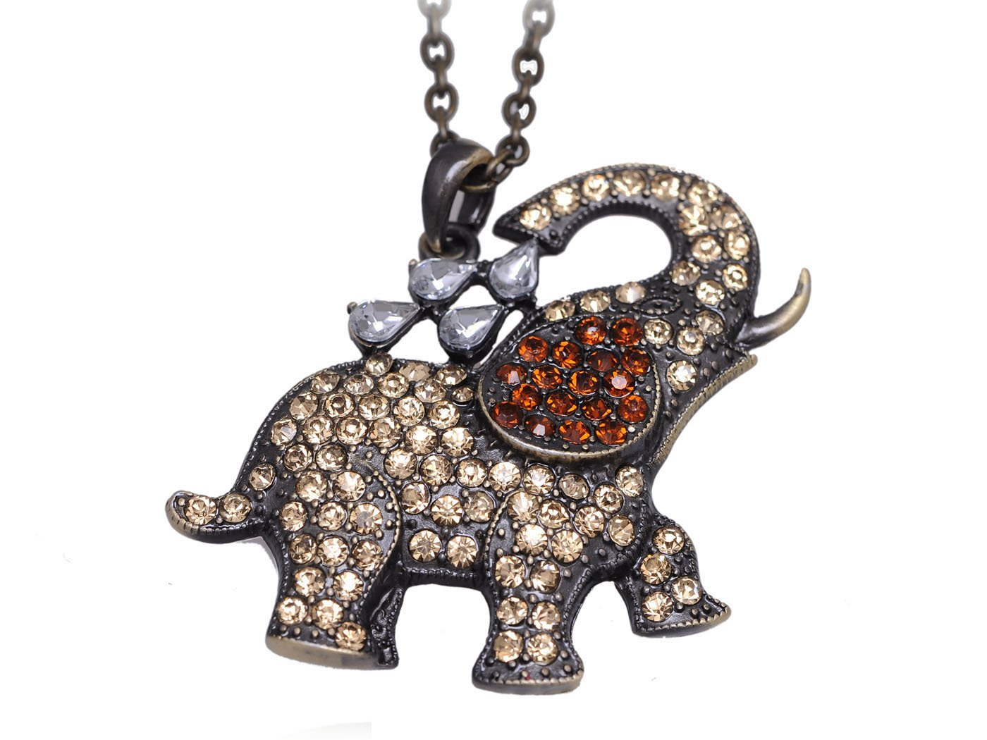 Alilang Womens Antique Tone Cute Cartoon Topaz Color Elephant Washing Back Animal Pendant Necklace