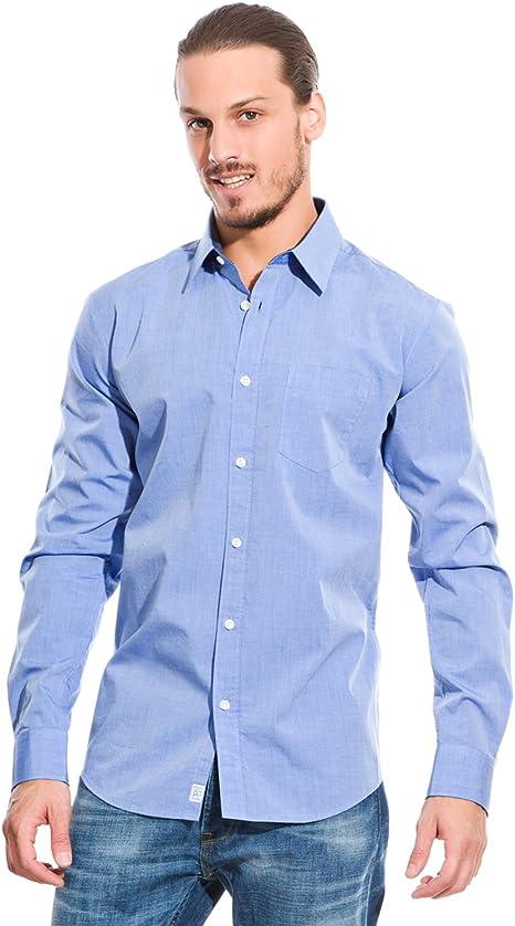 Springfield Camisa En Tejido Fil A Fil Azul S: Amazon.es: Ropa ...