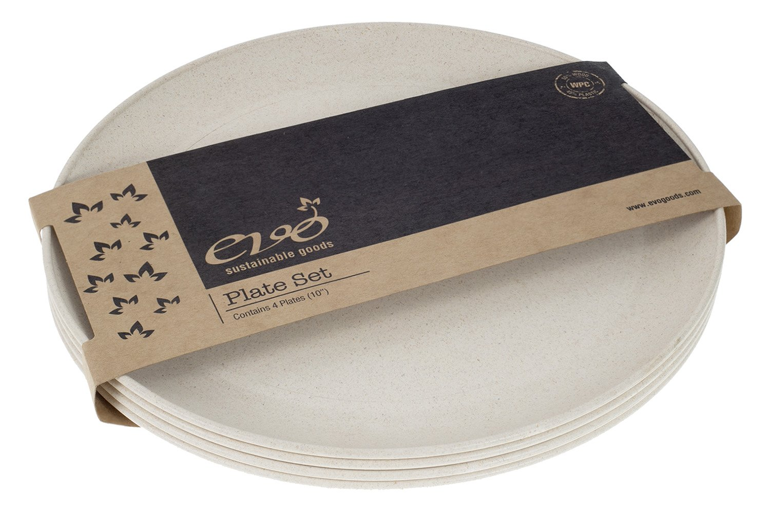 EVO Sustainable Goods 10'' Plate, Set of Four, White