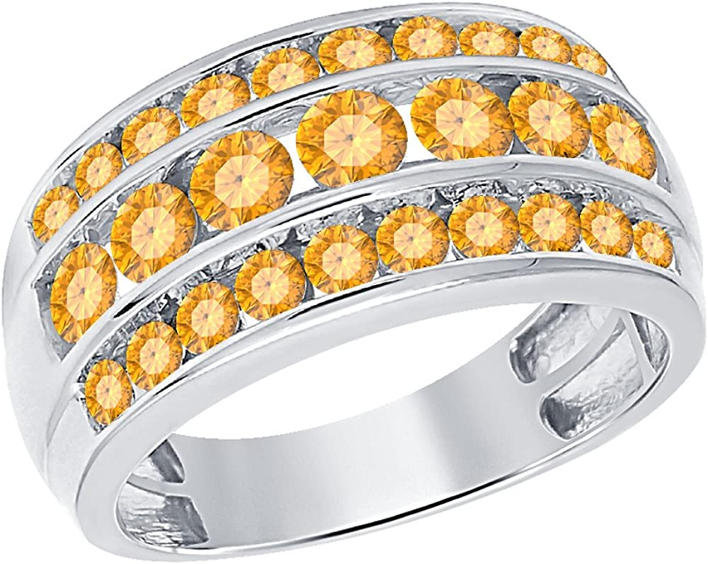 tusakha 14K White Gold Over .925 Sterling Silver 3.00ctw Round Cut Created Citrine Three Row Wedding Band Ring For Mens