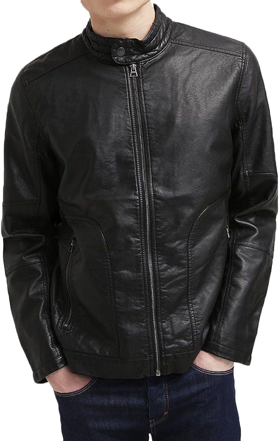 Kingdom Leather Men Slim Fit Biker Motorcycle Lambskin Leather Jacket Coat Outwear Jackets X1230