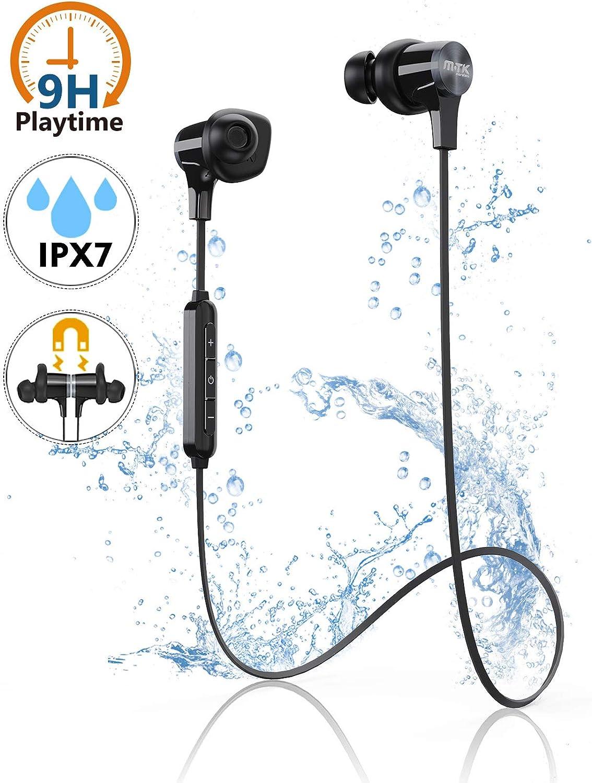 Auriculares Bluetooth, Auriculares Inalámbricos Deportivos Auriculares In-Ear, Incorporado HiFi Micrófono con Cancelación de Ruido, 8H Tiempo de Reproducción Sweatproof IPX7 para Correr/Gimnasio