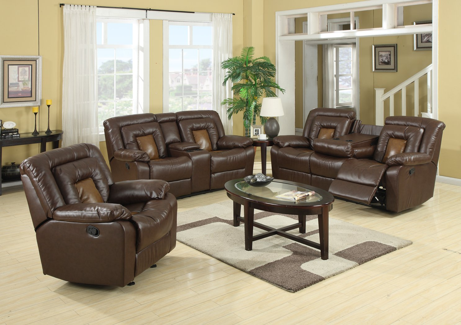 Amazon com gtu furniture cobra pu leather reclining sofa loveseat recliner set luxurious living room furniture sofa loveseat brown kitchen dining