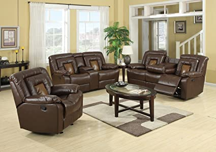 GTU Furniture Cobra Pu-Leather Reclining Sofa Loveseat Recliner Set,  Luxurious Living Room Furniture (Sofa, Loveseat & Recliner, Brown)