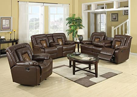 Amazon.com: Roundhill Furniture Kmax 2 Toned Dual Reclining Sofa And  Loveseat Set With Drop Console: Kitchen U0026 Dining