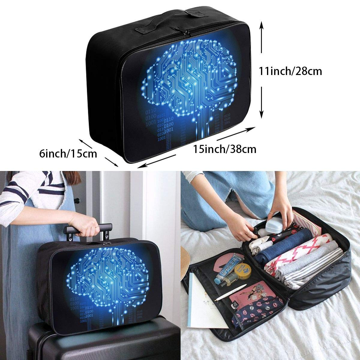 Travel Luggage Duffle Bag Lightweight Portable Handbag Brain Print Large Capacity Waterproof Foldable Storage Tote
