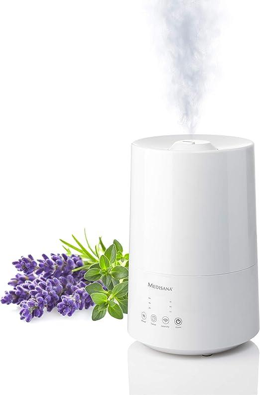 Medisana AH 661 Humidificador ultrasónico, purificador de aire para dormitorio y sala de estar, nebulizador con compartimento de aromas y función de calefacción contra aire seco, 3,5 litros: Amazon.es: Bricolaje y herramientas