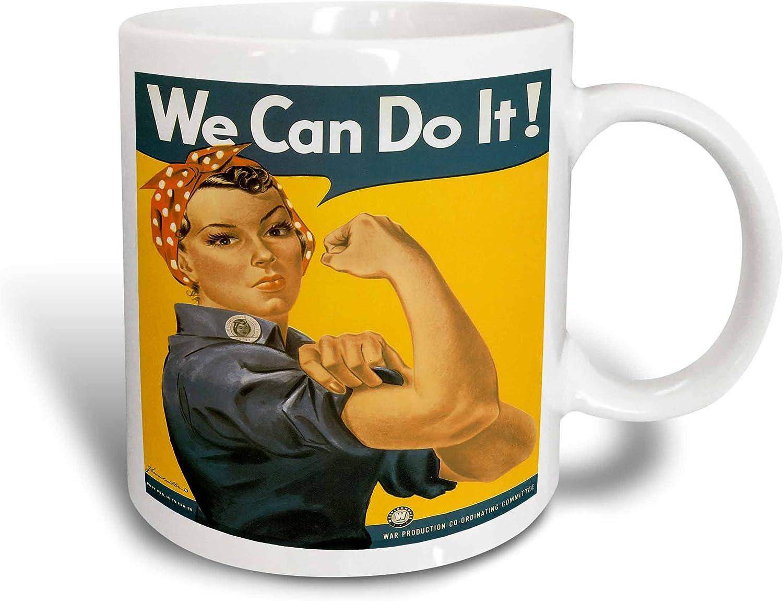 Vandor 61261 Smithsonian Rosie The Riveter 18 Oz Oval Ceramic Mug Yellow