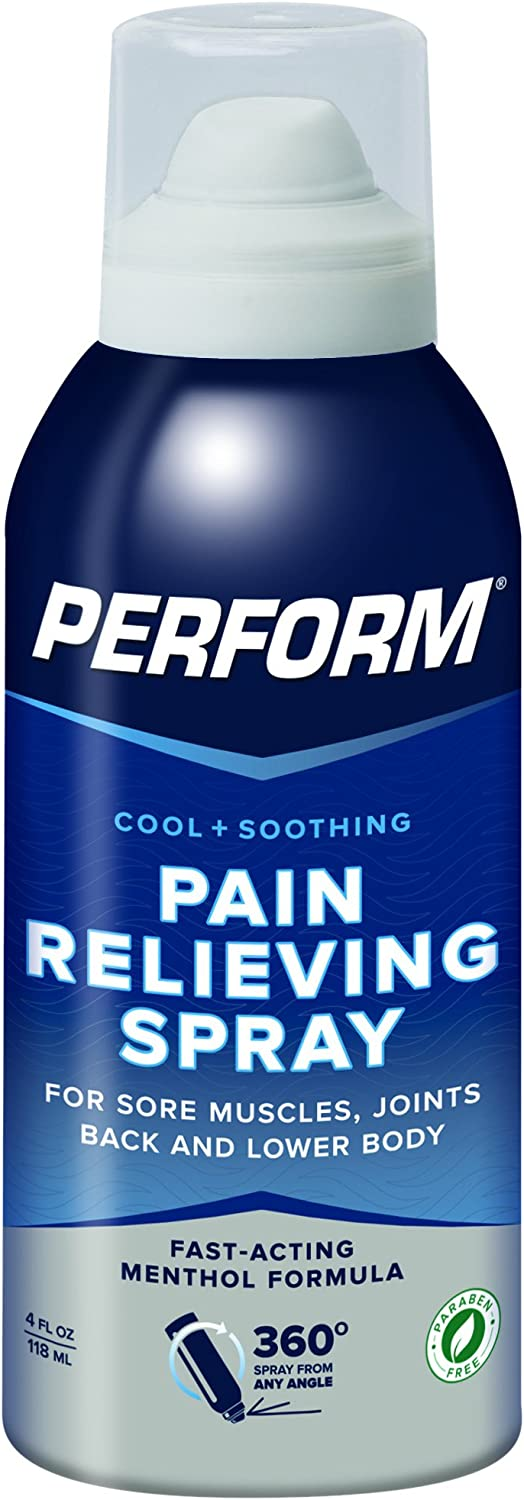 Perform Cooling Pain Relief Spray For Muscle Soreness, Post-Workout Aches, Joint Pain, Arthritis, and Back Pain, Non-NSAID Pain Reliever for Cold Therapy, Cryotherapy Topical Analgesic, 4 oz. Spray