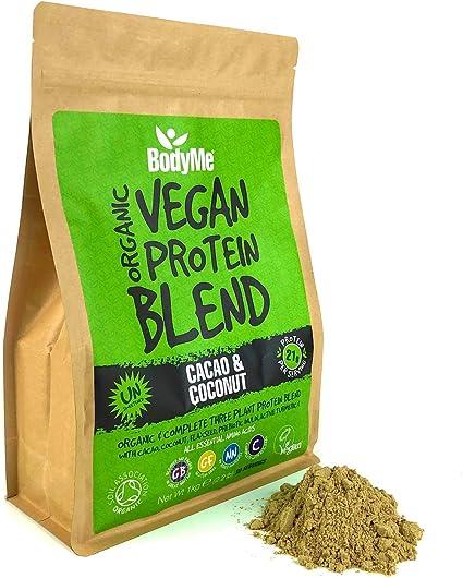 BodyMe Mezcla de Proteina Vegana Organica en Polvo | Crudo Cacao Coco | 1kg | Sin Edulcorante | Baja Carb | Sin Gluten | 3 Proteinas Veganas | 21g ...