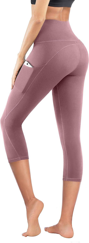 PHISOCKAT High Waist Yoga Pants with Pockets, Tummy Control Leggings for Women, Workout 4 Way Stretch Yoga Capris Leggings
