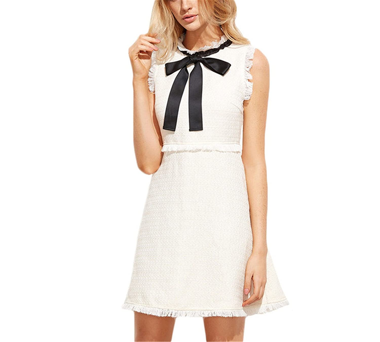 Renxinglin WomenWhite Party Dresses Bow Tie Neck Sleeveless Elegant Frayed Trim Tweed Dress