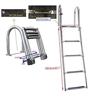 DasMarine 4 Step Stainless Steel Pontoon Boat Ladder, Folding Telescoping Rear Entry Inboard Ladder Heavy Duty Custom Swim Deck Ladder with Pedal Hand Railing Ladder Dock Ladder Extra Wide Step